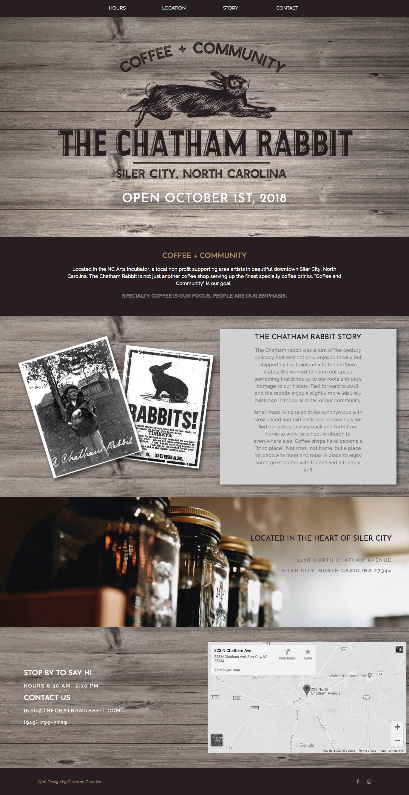 The Chatham Rabbit Coffee Shop Website Design