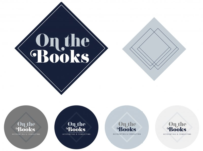 On The Books Logo Design Variations