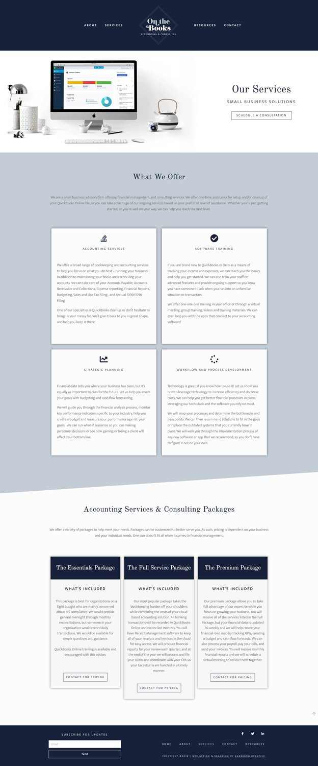 Web Design Mockup of On The Books Services Page