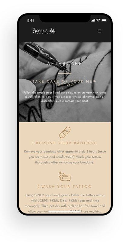 chapel hill web design tattoo shop ascension mobile