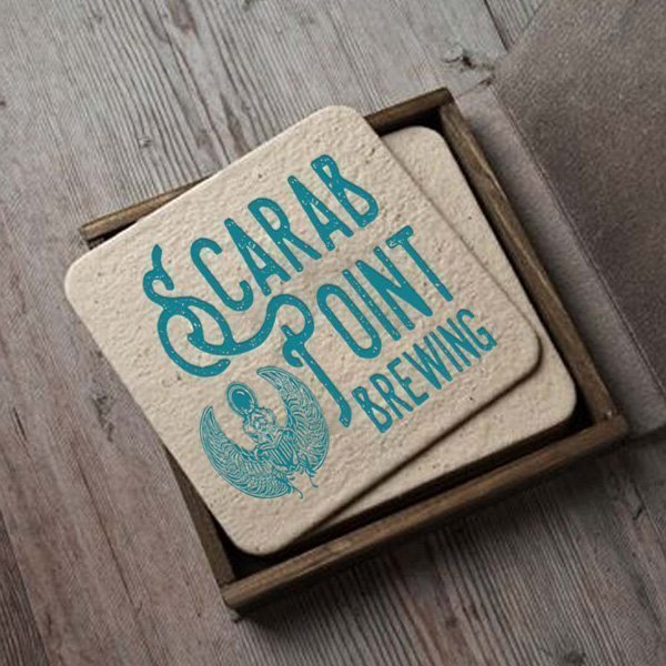 Scarab Point Brewing Ilustration Logo Design on Coasters
