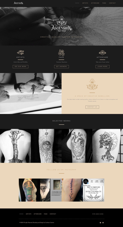 Chapel Hill Web Design for Tattoo Shop Ascension Tatoo