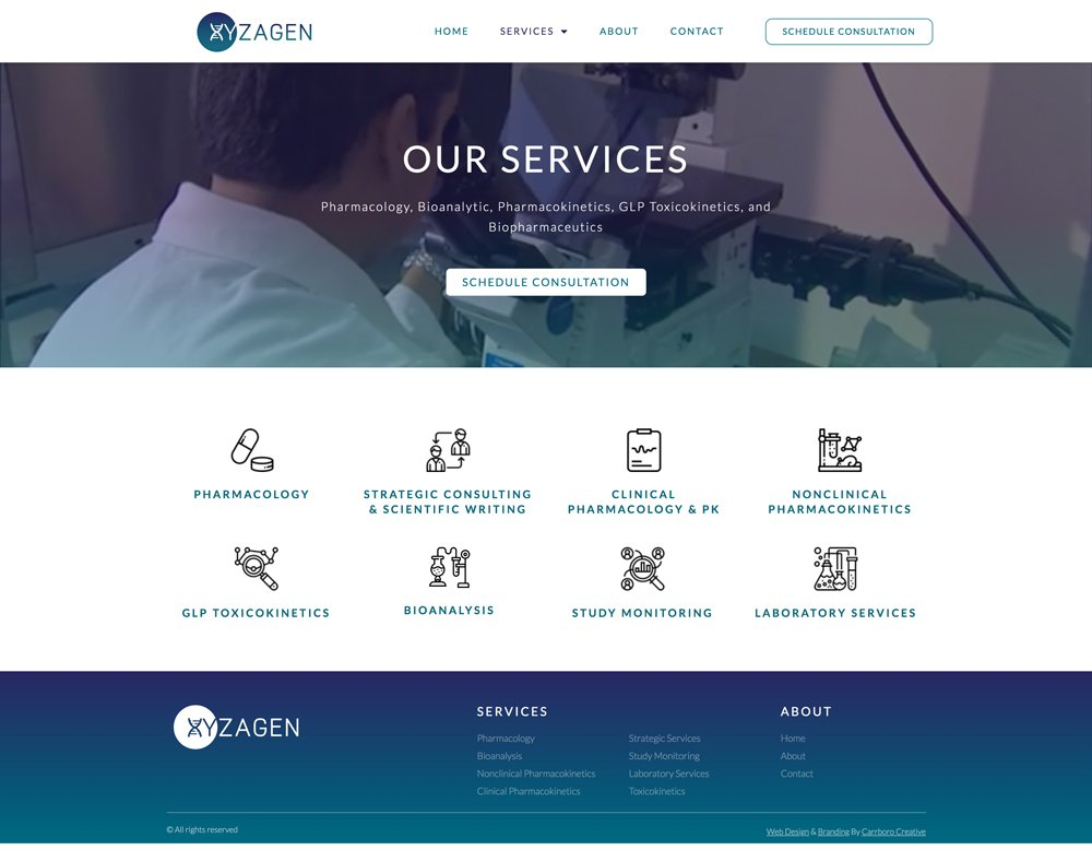 Web Design Mockup of Xyzagen Services Page