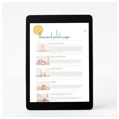 Thousand Petals Yoga Responsive Web Design on Tablet