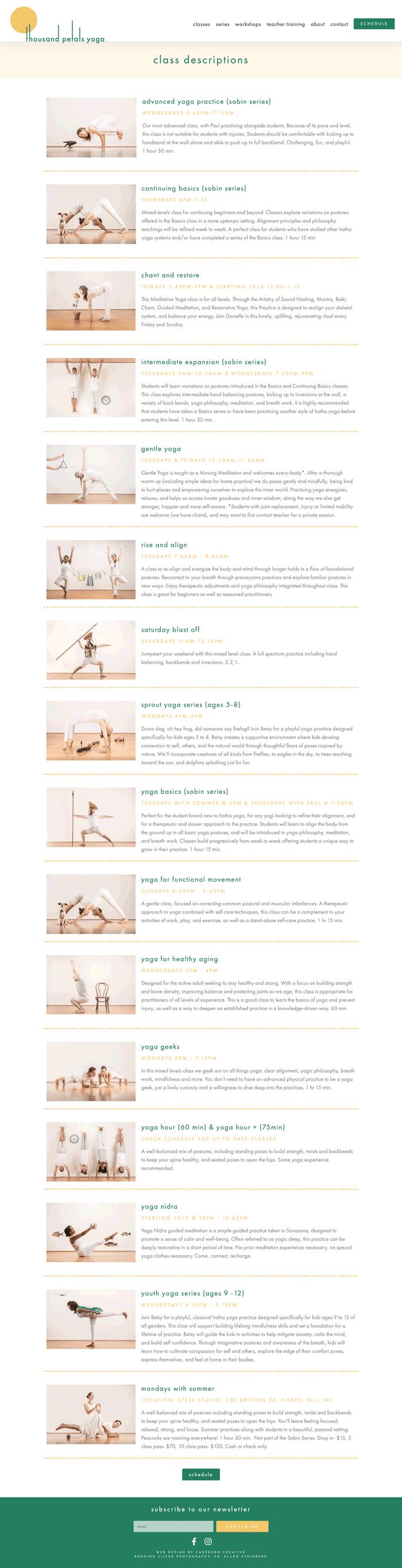 Web Design Mockup of Yoga Teacher Training Page