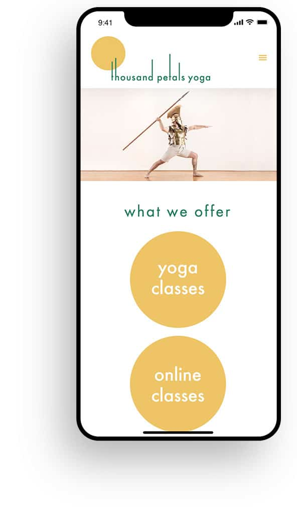 Thousand Petals Yoga Responsive Web Design on iPhone