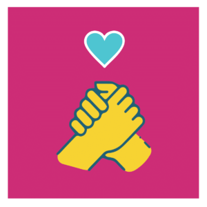 friends hands holding together icon