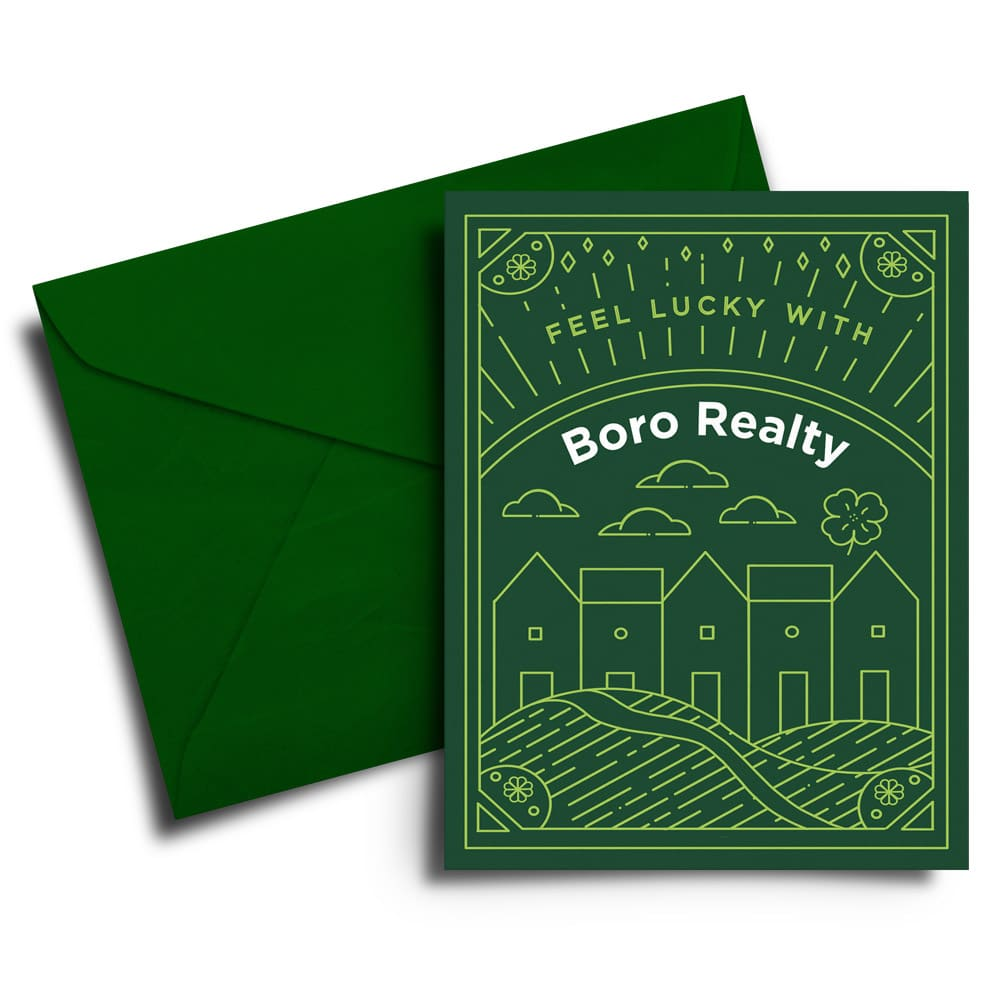 Boro greeting card white background