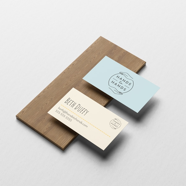 hands to hands business cards design