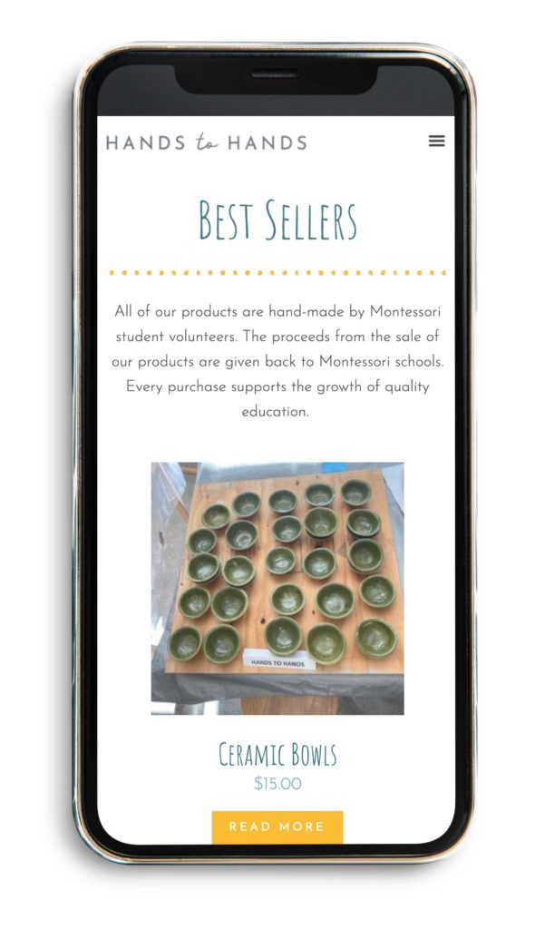 hands to hands best sellers page on mobile phone