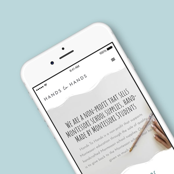 hands to hands page on mobile phone mockup