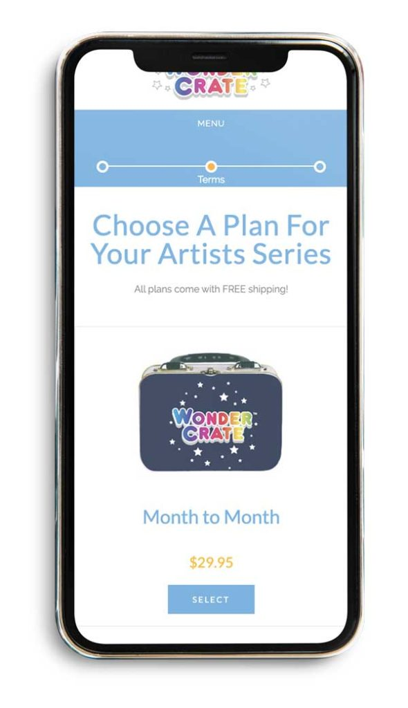 phone mockup wondercrate choose a plan for your artists series page