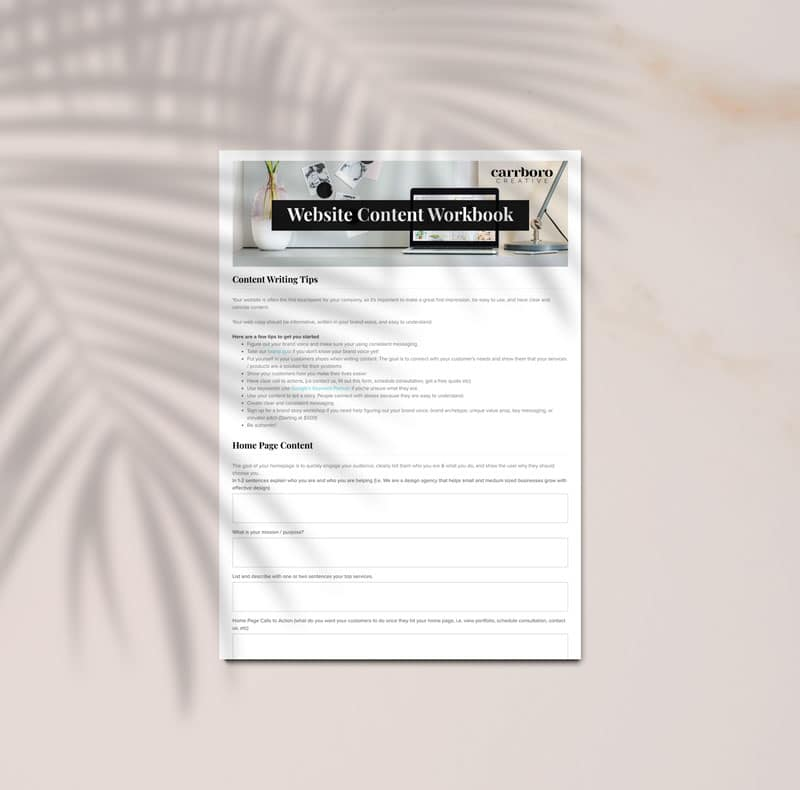 Website Content Workbook Mockup