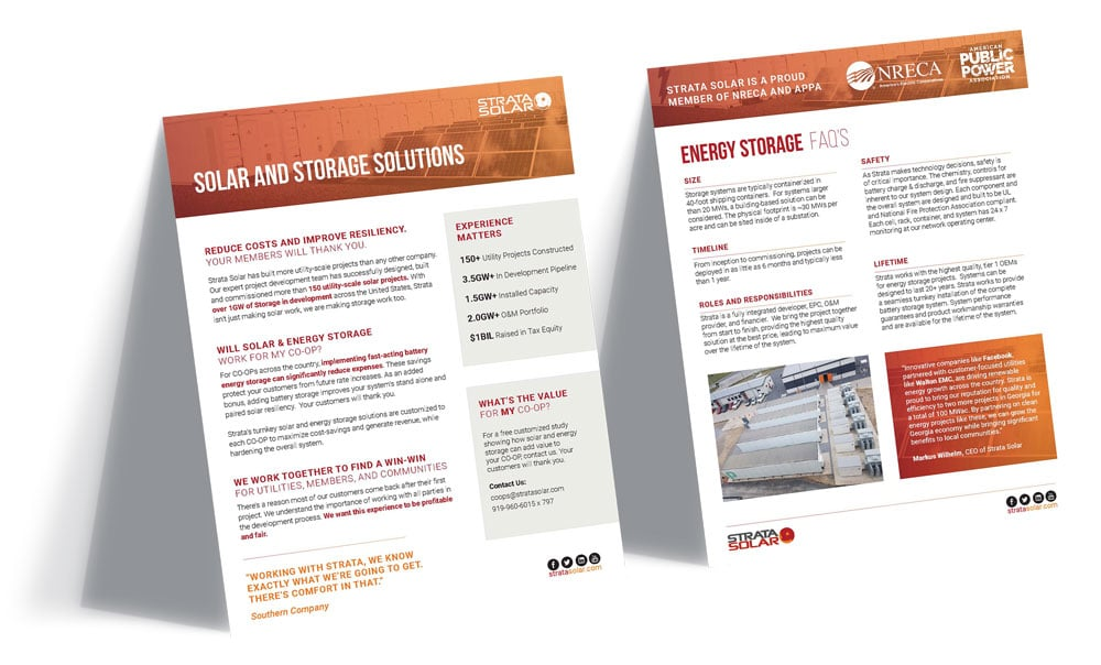 Mockup of Strata Solar flyers with a white background