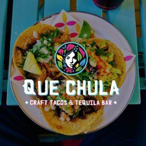 Que Chula logo on brand square