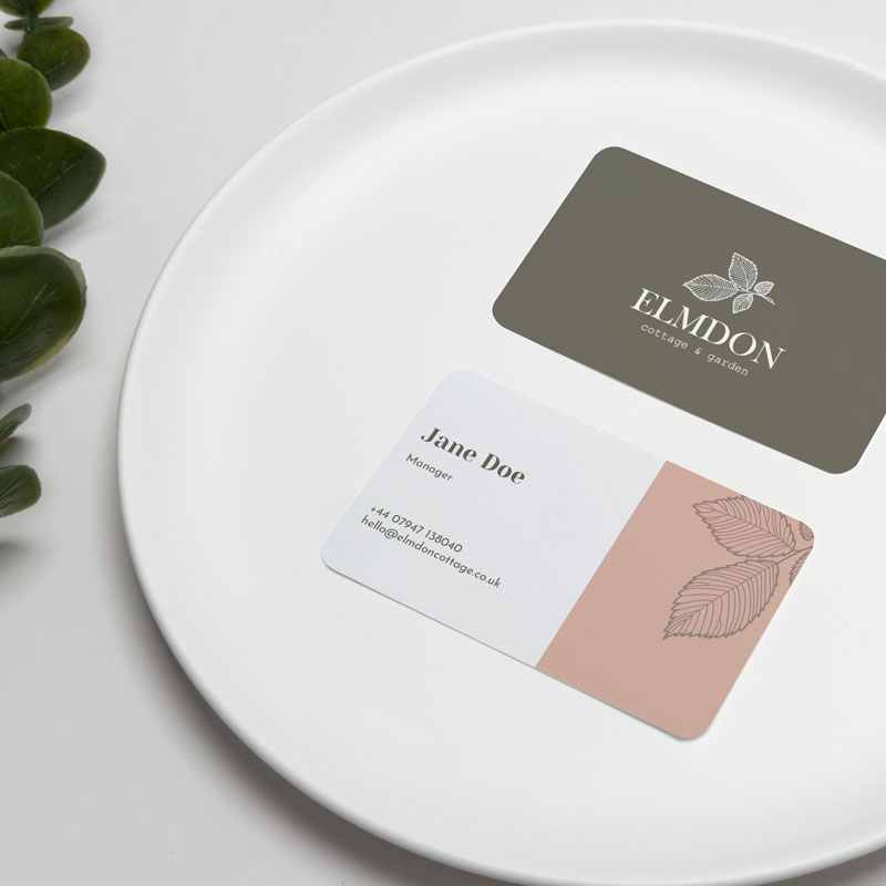 Elmdon Cottage Business Card in a plate mockup